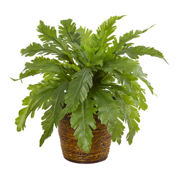 12 Fern Artificial Plant in Basket - SKU #8857