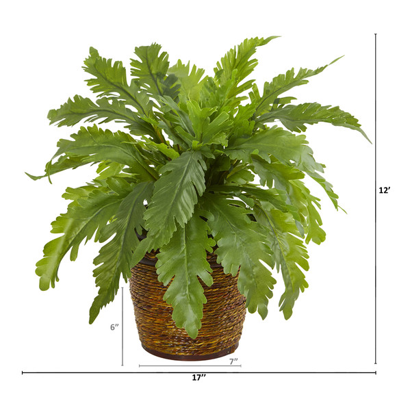 12 Fern Artificial Plant in Basket - SKU #8857 - 1