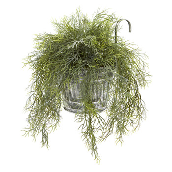 10 Tillandsia Moss Artificial Plant in Vintage Hanging Metal Pail - SKU #8860