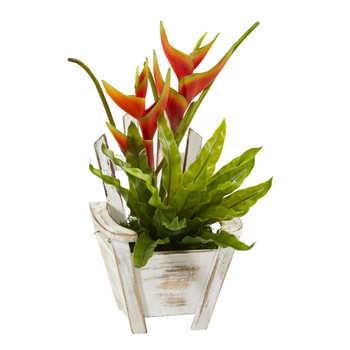 16 Heliconia and Birds Nest Fern Artificial Plant in Chair Planter - SKU #8864