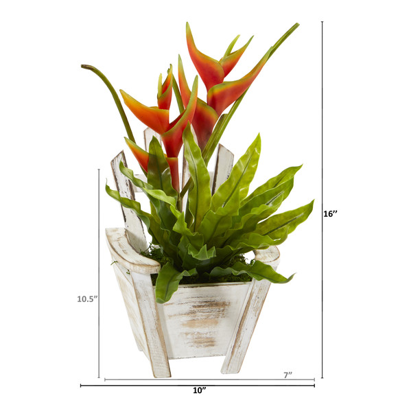 16 Heliconia and Birds Nest Fern Artificial Plant in Chair Planter - SKU #8864 - 1