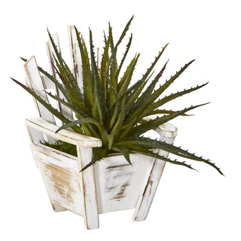 11 Aloe Succulent Artificial Plant in Chair Planter - SKU #8866