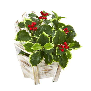 11 Variegated Holly Leaf Artificial Plant in Chair Planter Real Touch - SKU #8869