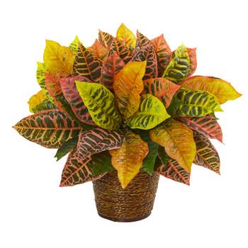 17 Garden Croton Artificial Plant in Basket Real Touch - SKU #8870