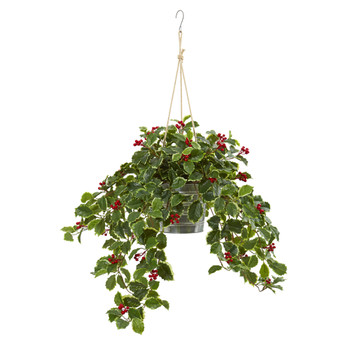 42 Variegated Holly Berry Artificial Plant in Hanging Bucket Real Touch - SKU #8879