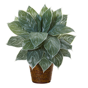 18 Silver Aglonema Artificial Plant in Basket Real Touch - SKU #8880
