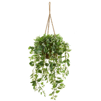 51 Wandering Jew Artificial Plant in Hanging Basket Real Touch - SKU #8881