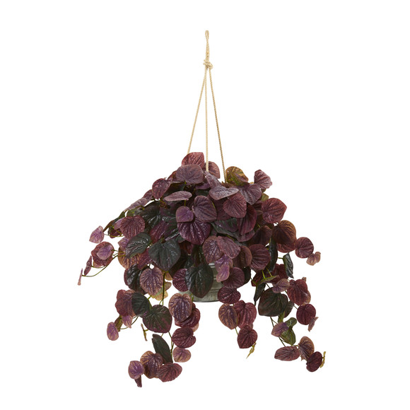 30 Peperomia Artificial Plant in Hanging Bucket Real Touch - SKU #8882