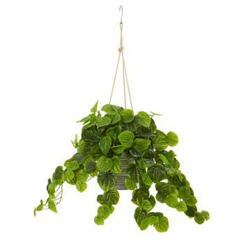 30 Peperomia Artificial Plant in Hanging Bucket Real Touch - SKU #8882-GR