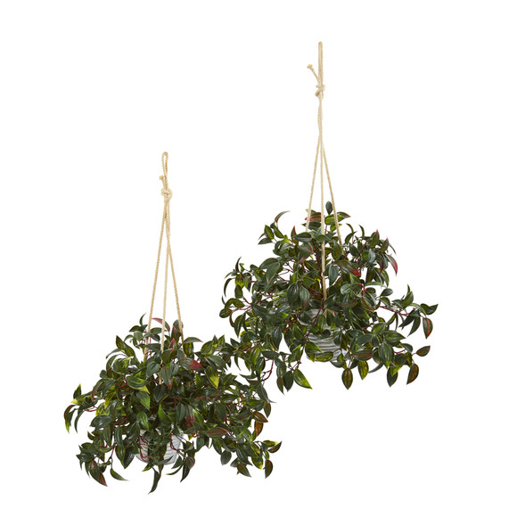 27 Mini Melon Artificial Plant in Hanging Bucket UV Resistant Indoor/Outdoor Set of 2 - SKU #8885-S2