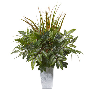 25 Mix Greens Artificial Plant in Planter - SKU #8886