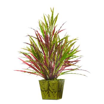 24 Fall Vanilla Grass Artificial Plant in Green Planter - SKU #8887