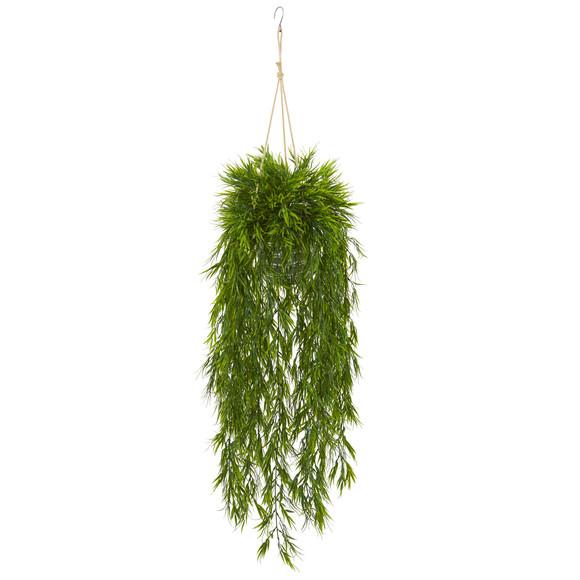 50 Mini Bamboo Artificial Plant in Hanging Metal Bucket - SKU #8888