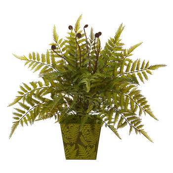 19 Fern Artificial Plant in Green Planter - SKU #8889