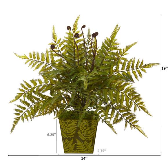 19 Fern Artificial Plant in Green Planter - SKU #8889 - 1