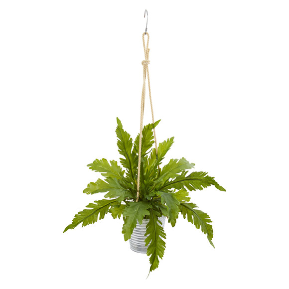 26 Watermelon Peperomia and Fern Artificial Plant in Hanging Bucket Set of 2 - SKU #8890-S2 - 1