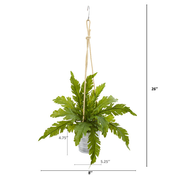 26 Watermelon Peperomia and Fern Artificial Plant in Hanging Bucket Set of 2 - SKU #8890-S2 - 2