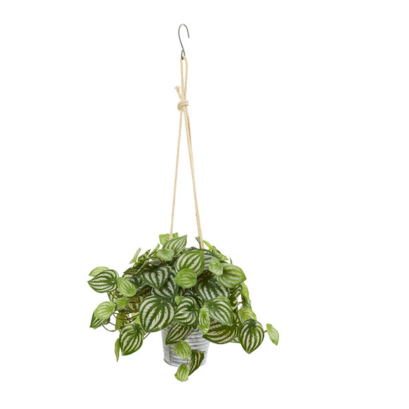 26 Watermelon Peperomia and Fern Artificial Plant in Hanging Bucket Set of 2 - SKU #8890-S2 - 3
