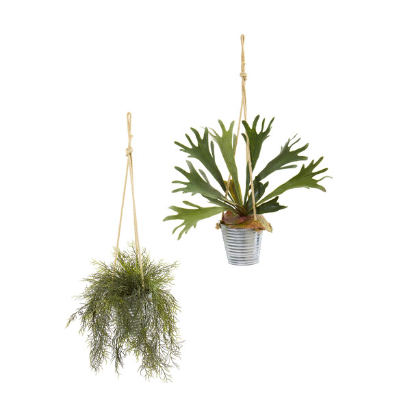 27 Tillandsia Moss and Staghorn Artificial Plant in Hanging Bucket Set of 2 - SKU #8891-S2