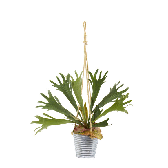 27 Tillandsia Moss and Staghorn Artificial Plant in Hanging Bucket Set of 2 - SKU #8891-S2 - 3