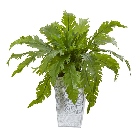 15 Fern Artificial Plant in White Planter - SKU #8893