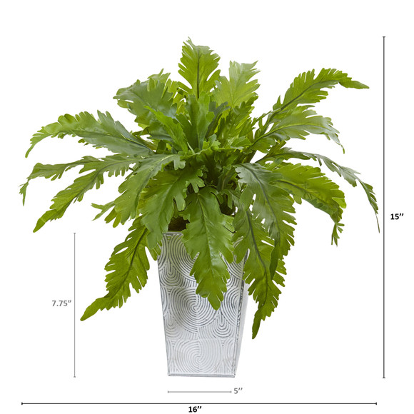 15 Fern Artificial Plant in White Planter - SKU #8893 - 1