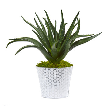 14 Aloe Artificial Plant in White and Tin Embossed Planter - SKU #8895