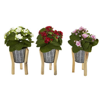 12 Kalanchoe Artificial Plant in Tin Planter with Legs Set of 3 - SKU #8916-S3