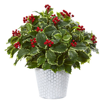 17 Variegated Holly Leaf Artificial Plant in Decorative Planter Real Touch - SKU #8922