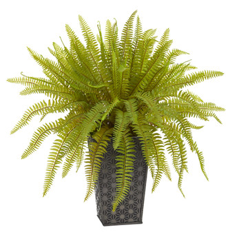 14 Fern Artificial Plant in Embossed Tin Planter - SKU #8924