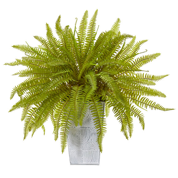 14 Fern Artificial Plant in Embossed White Planter - SKU #8925