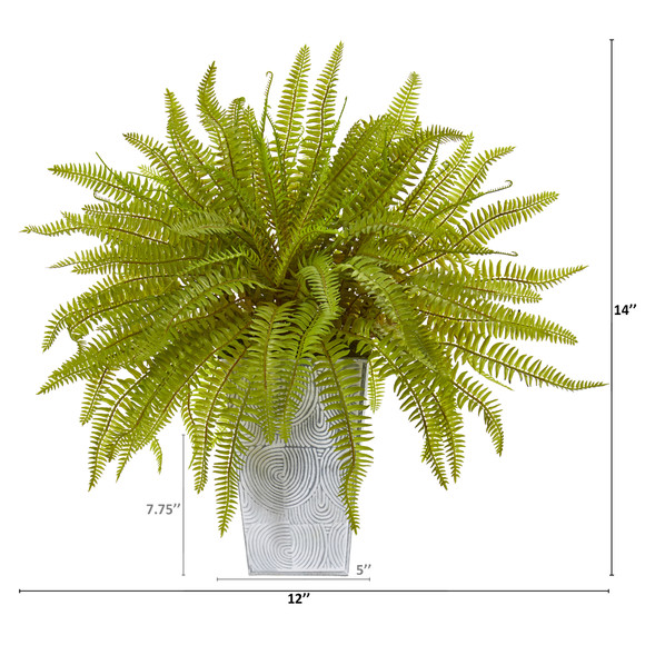 14 Fern Artificial Plant in Embossed White Planter - SKU #8925 - 1