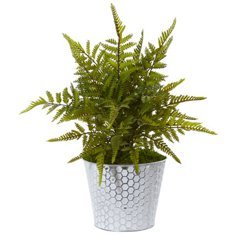 14 Fern Artificial Plant in Embossed White Tin Planter - SKU #8927