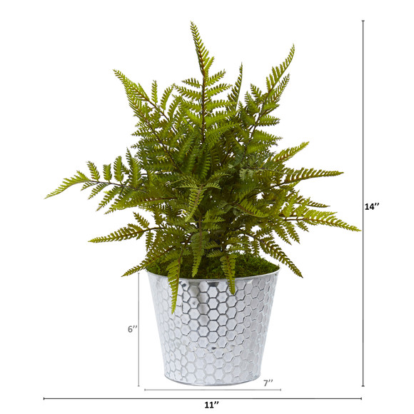 14 Fern Artificial Plant in Embossed White Tin Planter - SKU #8927 - 1