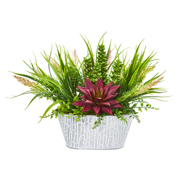 10 Succulent and Grass Artificial Plant in White Tin Planter - SKU #8928