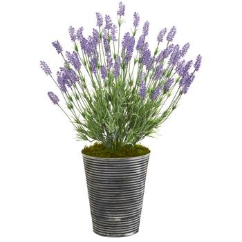 30 Lavender Artificial Plant in Black Embossed Tin Planter - SKU #8929