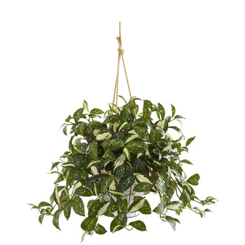 28 Florida Beauty Artificial Plant in Tin Hanging Bucket - SKU #8932