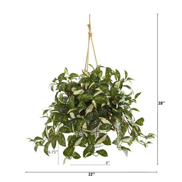 28 Florida Beauty Artificial Plant in Tin Hanging Bucket - SKU #8932 - 1
