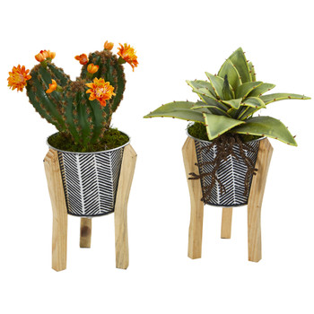 12 Mixed Succulent Artificial Plant in Tin Planter with Legs Set of 2 - SKU #8933-S2