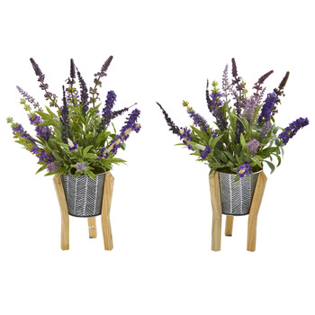 16 Lavender Artificial Plant in Tin Planter with Legs Set of 2 - SKU #8934-S2