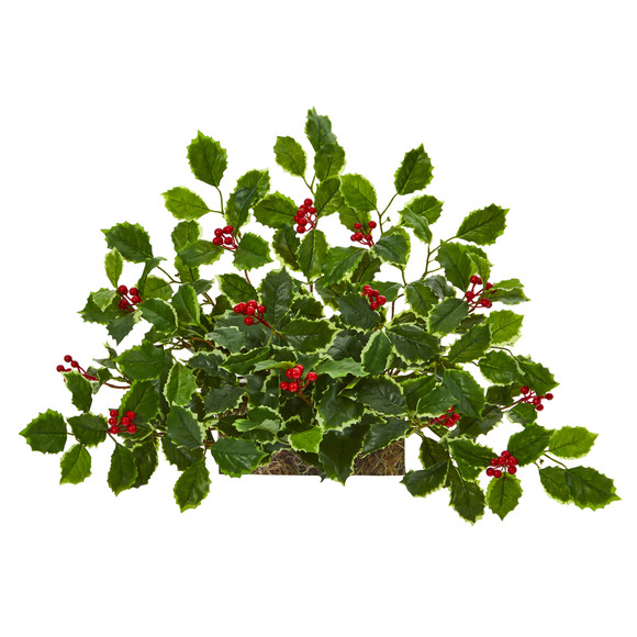 20 Variegated Holly with Berries Artificial Ledge Plant Real Touch - SKU #8937