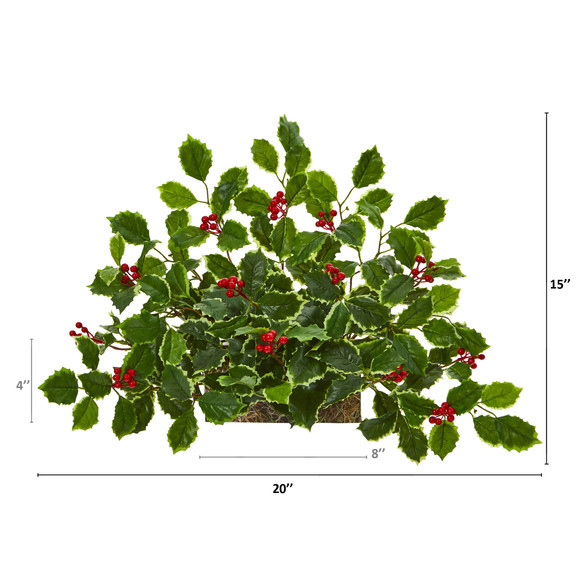 20 Variegated Holly with Berries Artificial Ledge Plant Real Touch - SKU #8937 - 1