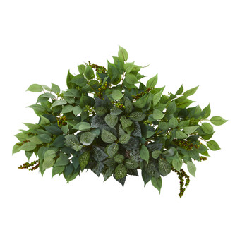 20 Mixed Ficus and Fittonia Artificial Ledge Plant - SKU #8939