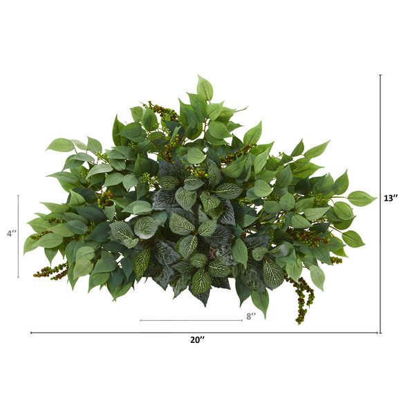 20 Mixed Ficus and Fittonia Artificial Ledge Plant - SKU #8939 - 1