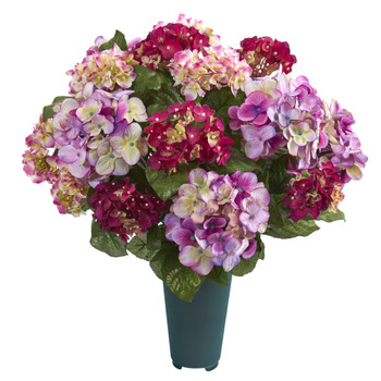 19 Hydrangea Artificial Graveside Memorial Arrangement in Green Vase - SKU #8945