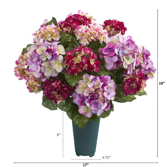 19 Hydrangea Artificial Graveside Memorial Arrangement in Green Vase - SKU #8945 - 1