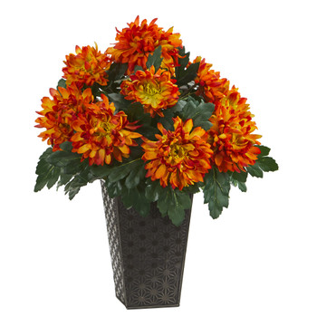 18 Spider Mum Artificial Plant in Black Tin Planter - SKU #8946