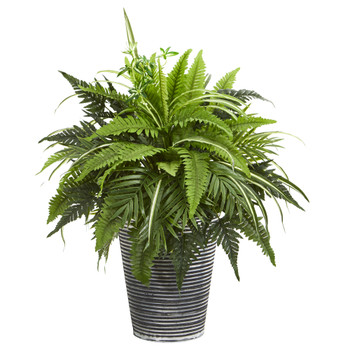 23 Mixed Greens and Fern Artificial Plant in Tin Planter with Black Pattern - SKU #8947