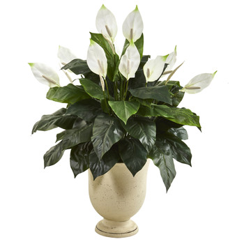 43 Spathifyllum Artificial Plant in White Urn - SKU #8948