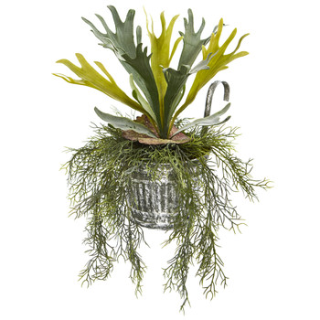 14 Staghorn and Tillandsia Artificial Plant in Vintage Hanging Metal Pail - SKU #8949